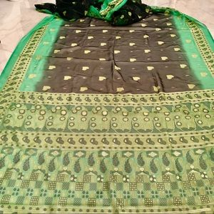 ❤️ Green Gold Black Sewing Craft Cloth India 17x4'